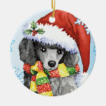Happy Howliday Miniature Poodle Ceramic Ornament