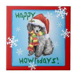 Happy Howliday Miniature Poodle Ceramic Tile