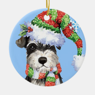Happy Howliday Miniature Schnauzer Double-Sided Ceramic Round Christmas Ornament