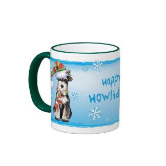Happy Howliday Miniature Schnauzer Ringer Coffee Mug