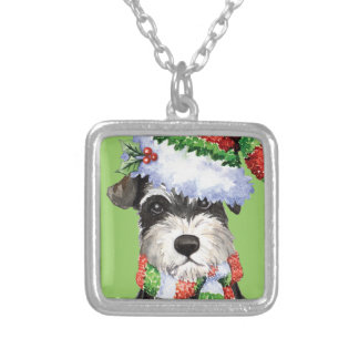 Happy Howliday Miniature Schnauzer Square Pendant Necklace