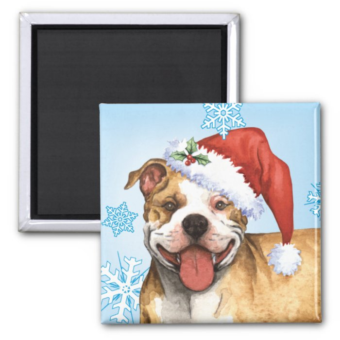 Happy Howliday Pit Bull Terrier 2 Inch Square Magnet