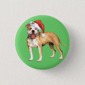 Happy Howliday Pit Bull Terrier Button