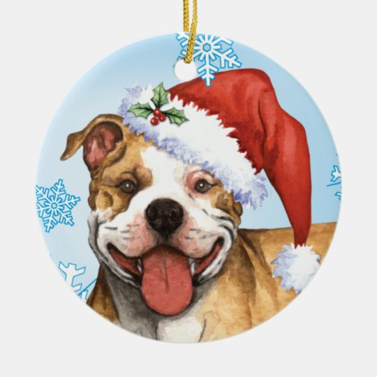 Happy Howliday Pit Bull Terrier Ceramic Ornament