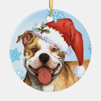 Happy Howliday Pit Bull Terrier Double-Sided Ceramic Round Christmas Ornament