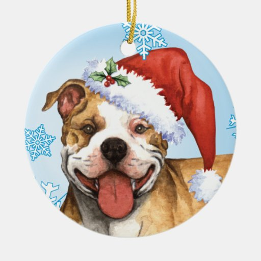 Happy Howliday Pit Bull Terrier Ornament