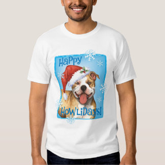 Happy Howliday Pit Bull Terrier Tee Shirts