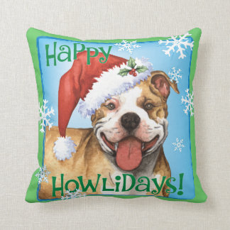 Happy Howliday Pit Bull Terrier Throw Pillow