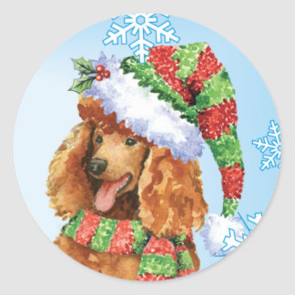 Happy Howliday Poodle Classic Round Sticker