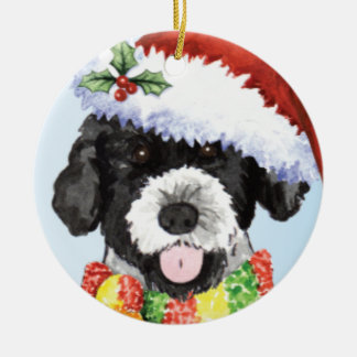 Happy Howliday Portuguese Water Dog Double-Sided Ceramic Round Christmas Ornament