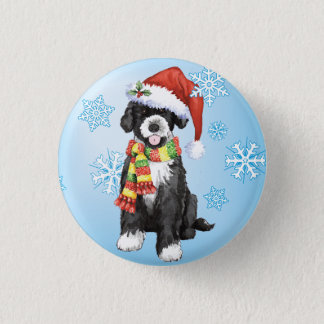 Happy Howliday Portuguese Water Dog Pinback Button