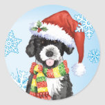 Happy Howliday Portuguese Water Dog Sticker