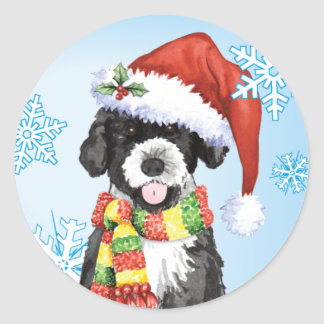 Happy Howliday Portuguese Water Dog Classic Round Sticker