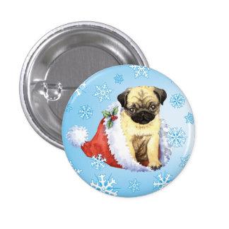 Happy Howliday Pug 1 Inch Round Button