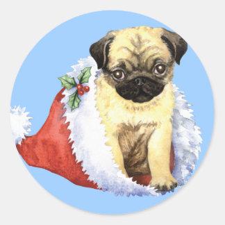 Happy Howliday Pug Classic Round Sticker