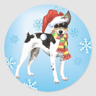 Happy Howliday Rat Terrier Classic Round Sticker