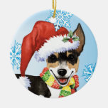 Happy Howliday Rat Terrier Double-Sided Ceramic Round Christmas Ornament