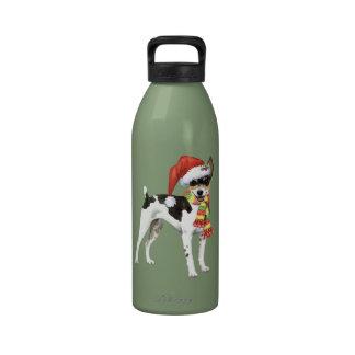 Happy Howliday Rat Terrier Water Bottle