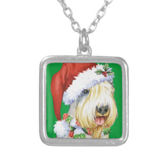 Happy Howliday Sealyham Terrier Square Pendant Necklace
