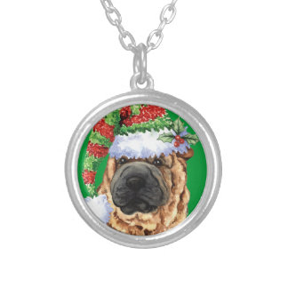 Happy Howliday Shar-Pei Silver Plated Necklace