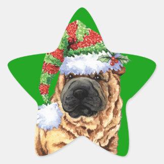 Happy Howliday Shar-Pei Star Sticker