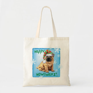 Happy Howliday Shar-Pei Tote Bag