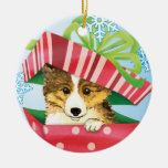 Happy Howliday Sheltie Double-Sided Ceramic Round Christmas Ornament
