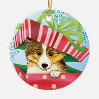 Happy Howliday Sheltie Double-Sided Ceramic Round Christmas Ornament