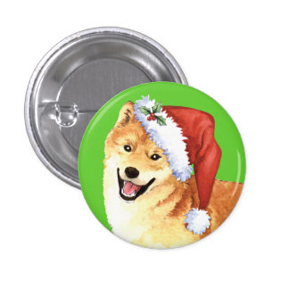 Happy Howliday Shiba Inu 1 Inch Round Button