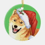 Happy Howliday Shiba Inu Double-Sided Ceramic Round Christmas Ornament
