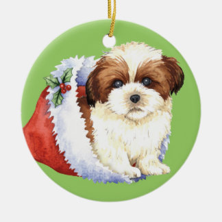 Happy Howliday Shih Tzu Double-Sided Ceramic Round Christmas Ornament