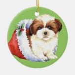 Happy Howliday Shih Tzu Double-Sided Ceramic Round Christmas Ornament