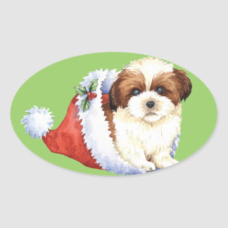 Happy Howliday Shih Tzu Oval Sticker