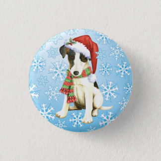 Happy Howliday Smooth Fox Terrier Button