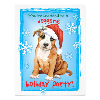 Happy Howliday Staffordshire Bull Terrier Personalized Invites