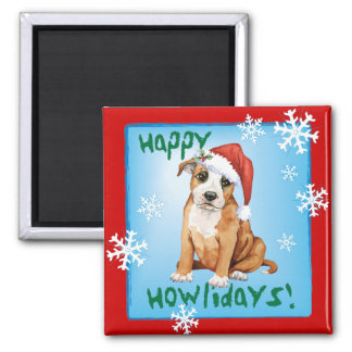 Happy Howliday Staffordshire Bull Terrier Refrigerator Magnets
