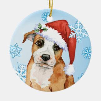Happy Howliday Staffordshire Bull Terrier Ornament