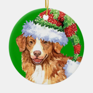 Happy Howliday Toller Ceramic Ornament