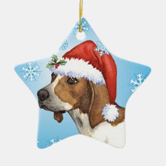 Happy Howliday Treeing Walker Ceramic Ornament