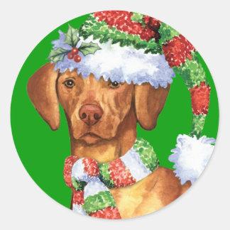Happy Howliday Vizsla Classic Round Sticker