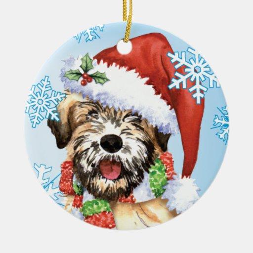 Happy Howliday Wheaten Double-Sided Ceramic Round Christmas Ornament