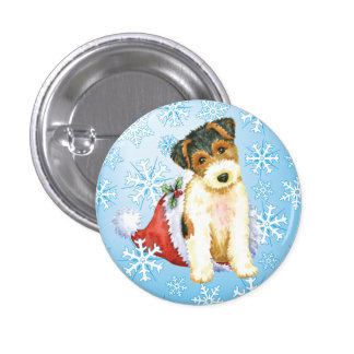 Happy Howliday Wire Fox Terrier Button