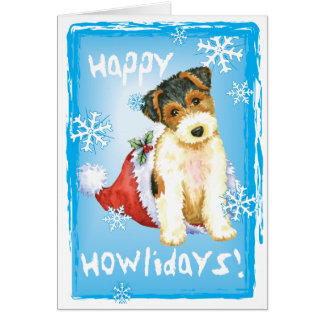 Happy Howliday Wire Fox Terrier Card