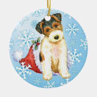 Happy Howliday Wire Fox Terrier Ceramic Ornament