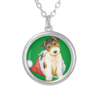 Happy Howliday Wire Fox Terrier Silver Plated Necklace