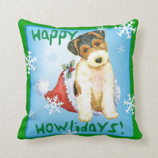 Happy Howliday Wire Fox Terrier Throw Pillow