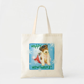 Happy Howliday Wire Fox Terrier Tote Bag