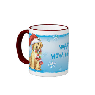 Happy Howliday Yellow Lab Mugs