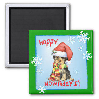 Happy Howliday Yorkie 2 Inch Square Magnet