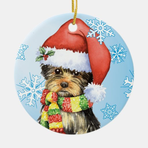 Happy Howliday Yorkie Double-sided Ceramic Round Christmas Ornament